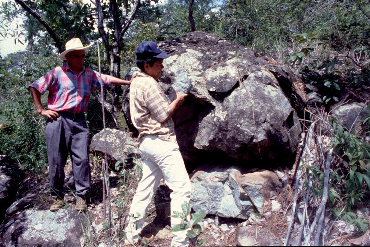 Une carrière de jadéite au Guatemala ; elle a été retrouvée il y a une vingtaine d'années, après avoir été oubliée plusieurs siècles.
