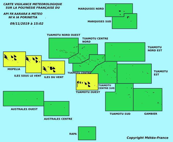 Fortes pluies attendues sur la Société et les Tuamotu ouest