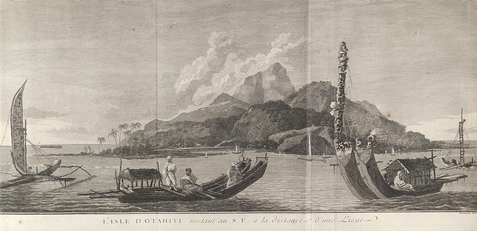 Quelques pirogues de O'Tahiti, tiré d'une gravure de Cook.