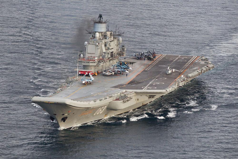 L'unique porte-avions russe brûle
