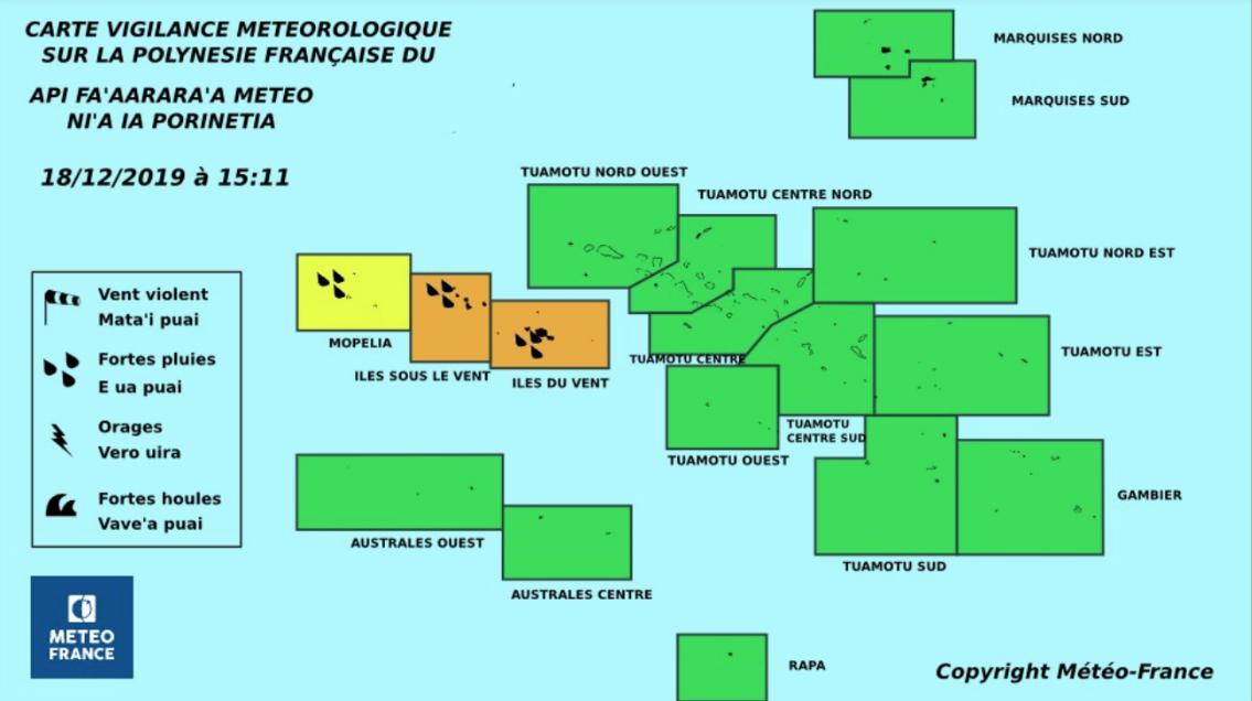 Vigilance orange sur les îles de la Société