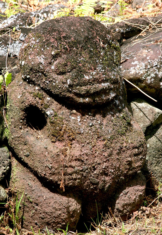 Ce puissant tiki du site de Paeke est travaillé dans du ke'etu, lave rougeâtre très tendre, mais très friable également.