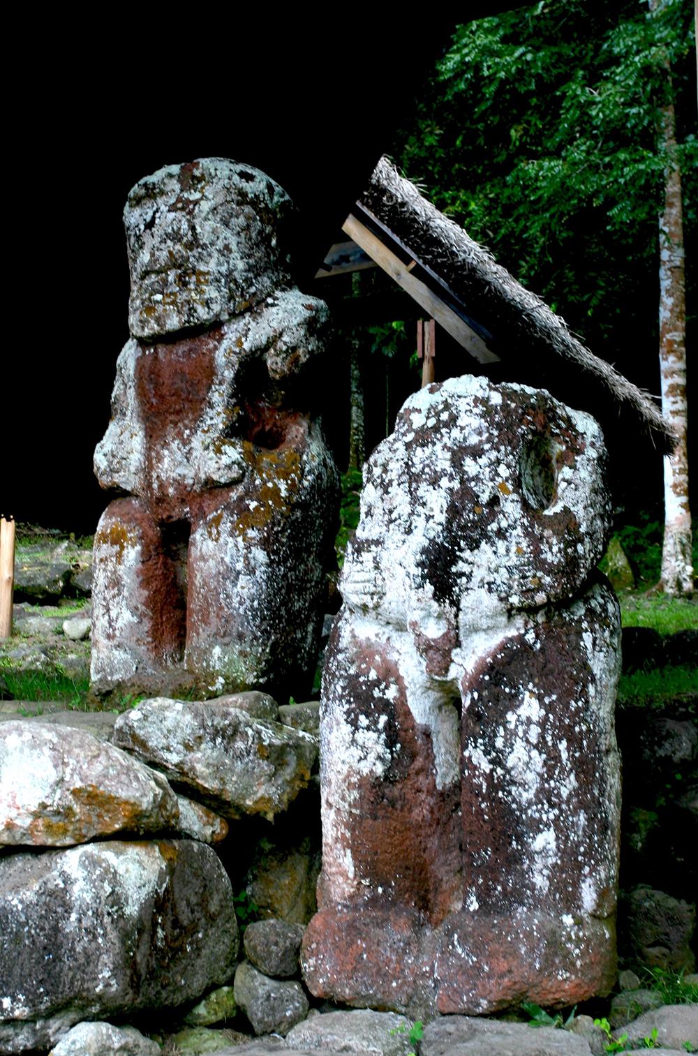 Takaii, le tiki géant de Puamau, est le plus grand tiki ancien de cet archipel. Mesuré, il avoua ce jour-là 2,55m mais une partie de ses pieds serait dans le sol.
