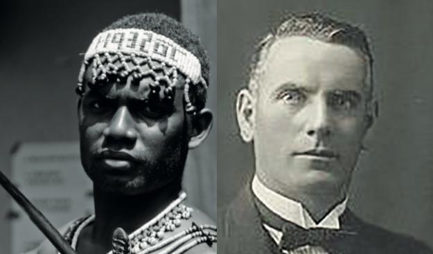 Selon les Britanniques, l'affaire de Malaita se solda par une cinquantaine de morts ; deux cents répondent les Kwaoi qui subirent une répression très dure. William R. Bell (à droite) fut la première victime de la rébellion de certains Salomonais contre un impôt prélevé sur chaque habitant.