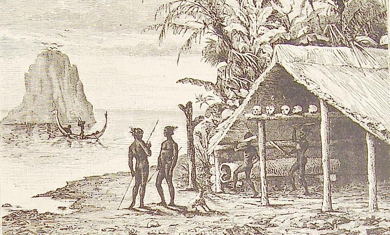 Cette ancienne gravure du XIXe siècle montre des Salomonais, plus précisément des « Salt Water People » devant leur case, avec des têtes en guise de trophées.