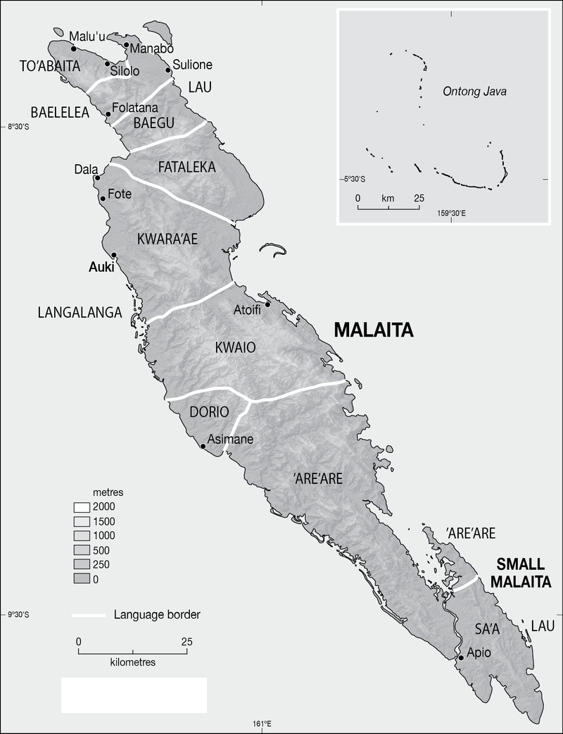 Sur cette carte de l'île de Malaita, on aperçoit, à l'extrême nord-est une petite île au large du village de Manabo. C'est sur cette île que Renton passa quelques années et devint coupeurs de têtes.