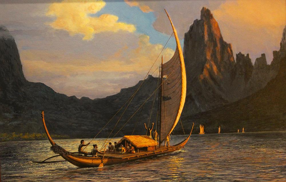 L'une des toiles les plus célèbres d'Herb Kawainui Kane, l'entrée de cette pirogue de Rurutu dans l'une des baies de Moorea.