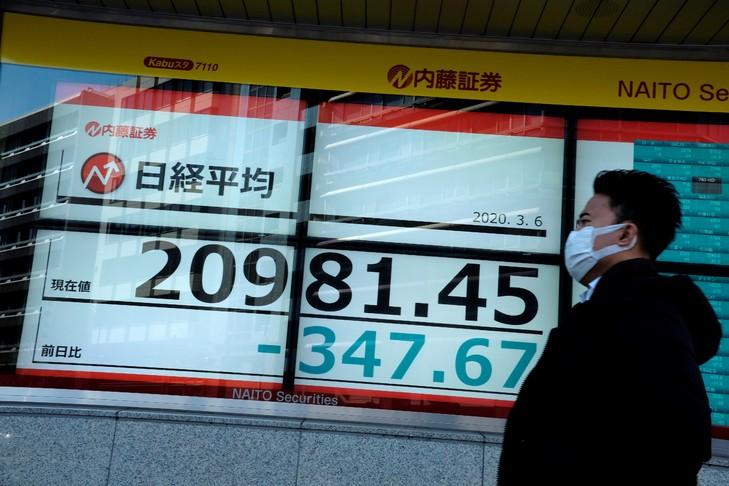 Un panneau indiquant les cours de la Bourse de Tokyo, le 6 mars 2020 / AFP