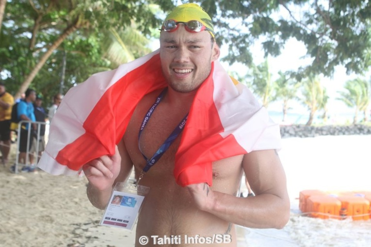 Rahiti De Vos, lors des Jeux du Pacifique aux Samoa, où il avait décroché trois médailles d'or.