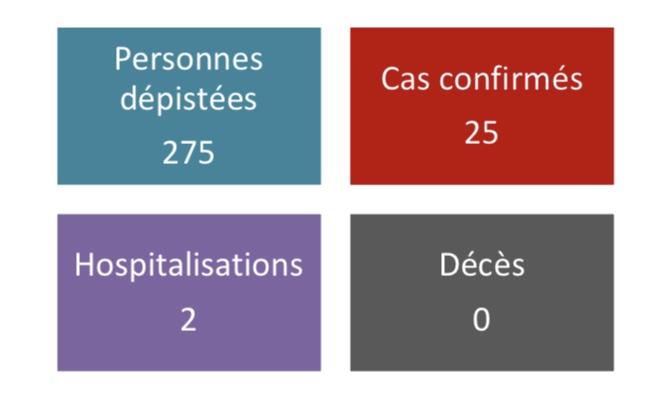 25 cas confirmés, 2 en réanimation