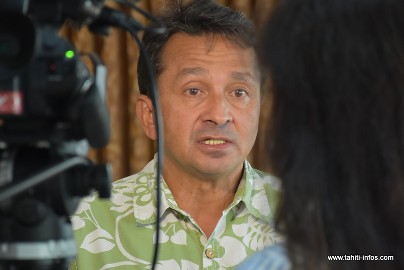 Le sénateur Nuihau Laurey, jeudi matin à Tarahoi.