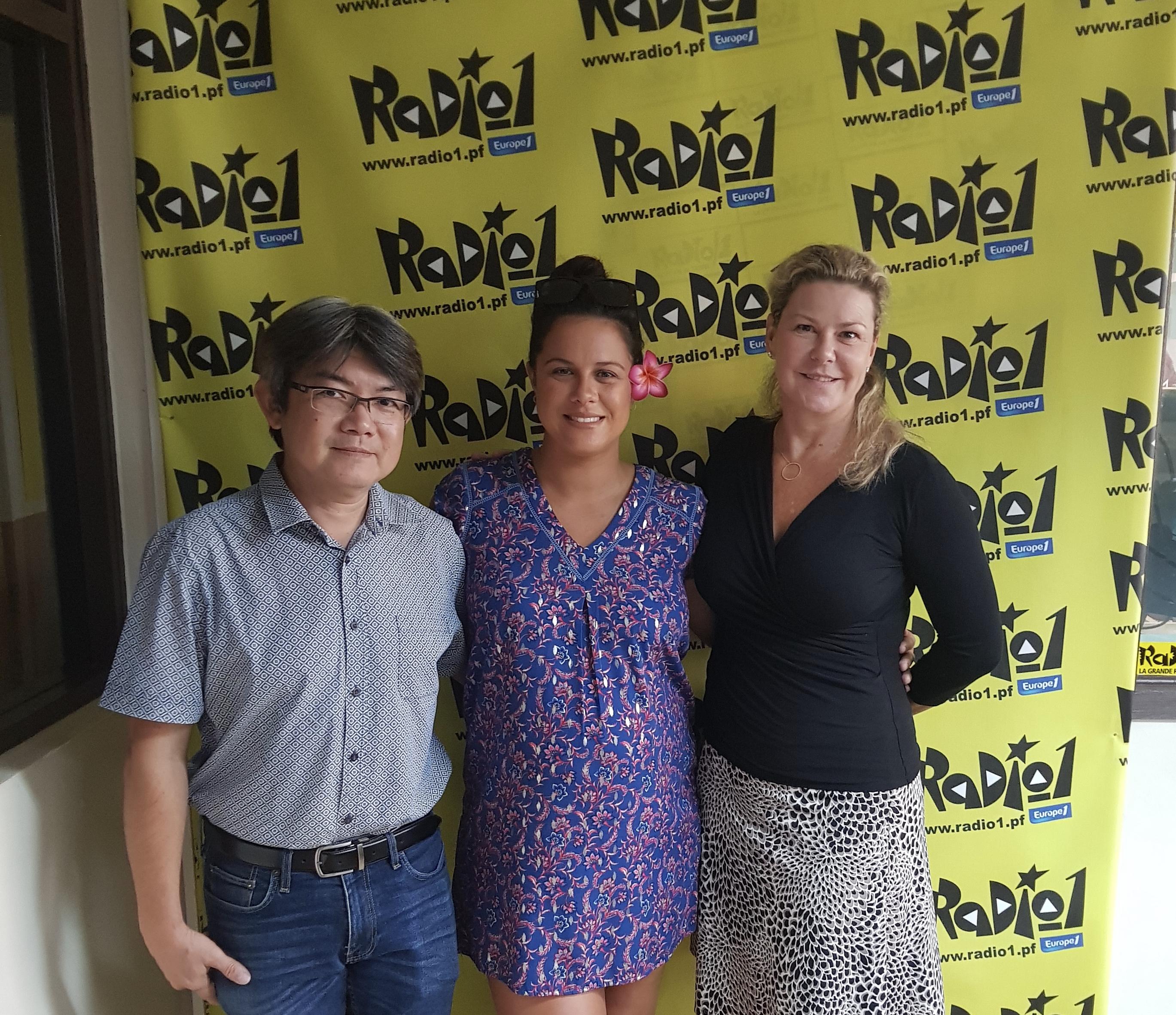 Patrick Yeung (président de l'association Wen Fa), Natalia Germain (fondatrice du collectif Ohana) et Sonia Aline (directrice générale de Radio 1 et Tiare FM).