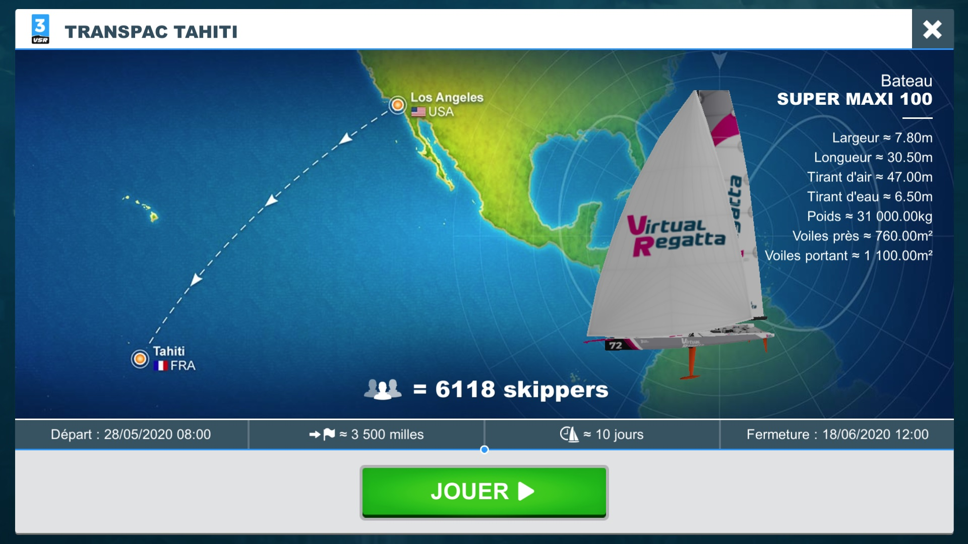 Une régate virtuelle entre Los Angeles et Tahiti