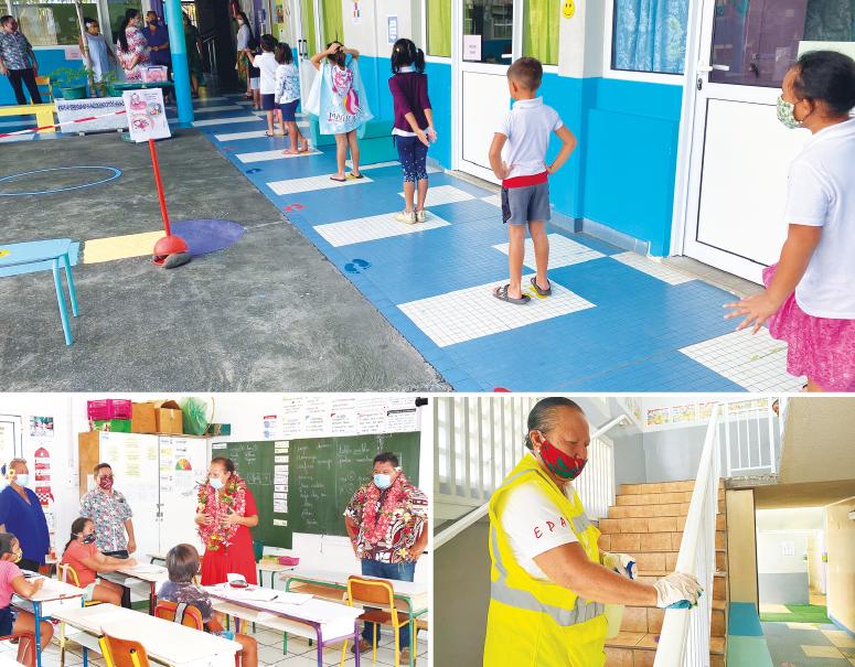 """La ministre de l'Education et le directeur de la DGEE se sont dits """"satisfaits"""" de l'application des protocoles sanitaires dans les établissements visités."""