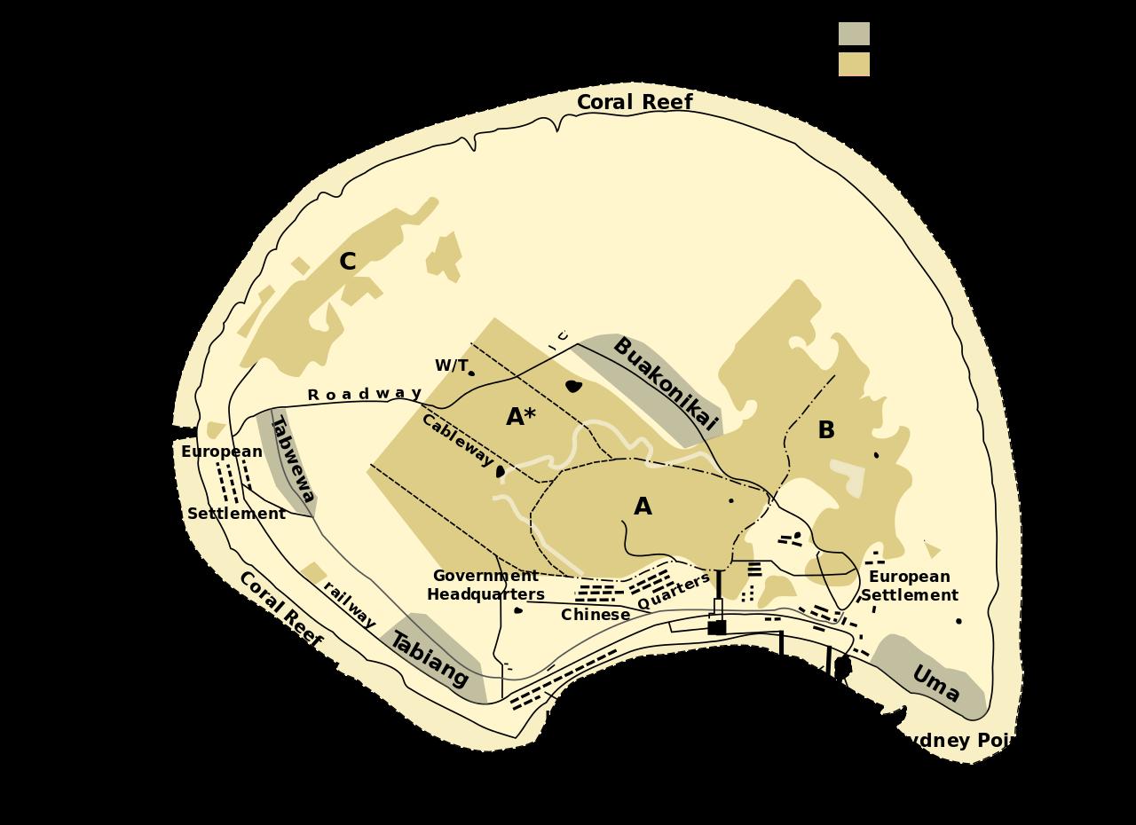 Une carte de l'île de Banaba. Les sites en vert olive, baptisés A B et C, sont les zones d'extraction du minerai.