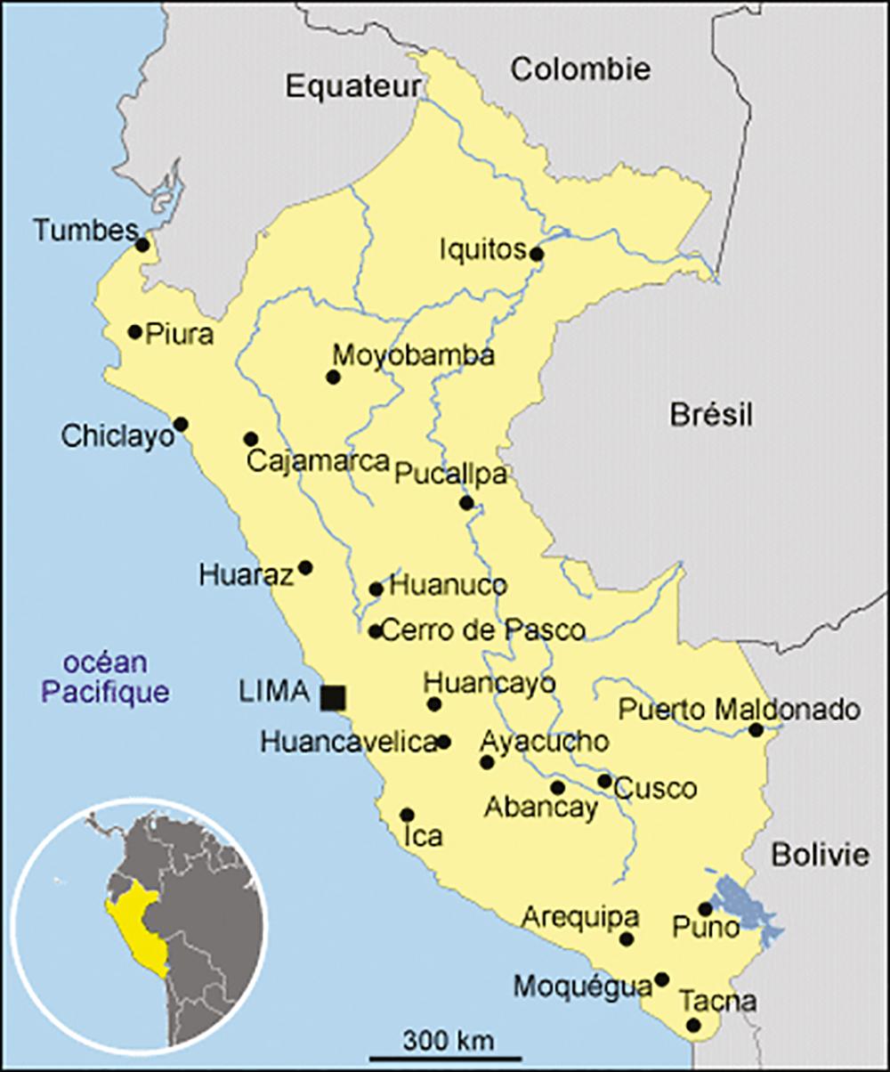 Sur cette carte du Pérou, au nord de Lima, la capitale, se trouve la ville de Huaraz, point de départ pour découvrir les puyas raimondii.