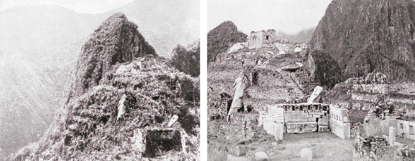 Deux parties de la ville du Machu Picchu, la première telle qu'elle apparut à Hiram Bingham en 1911 et l'autre telle qu'elle se présentait après un an de nettoyage  (Photo Hiram Bingham, National Geographic avril 1913. Col DP).