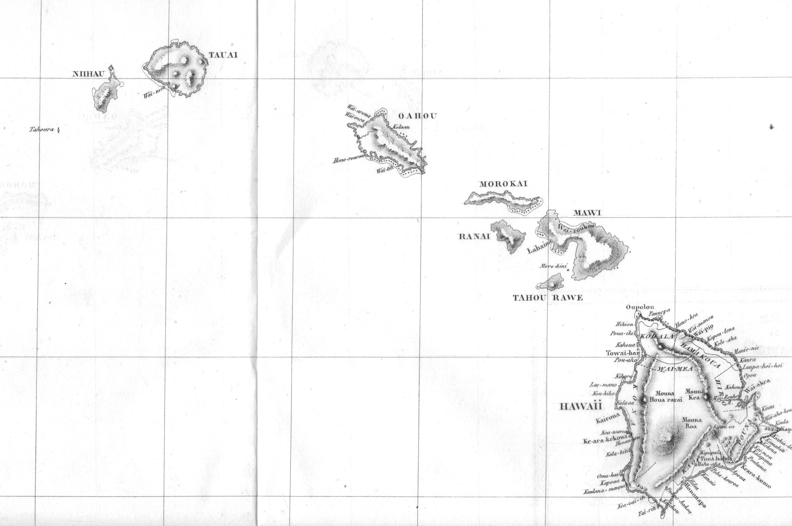 Une ancienne carte de l'archipel hawaiien.
