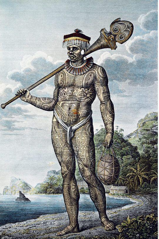 Un guerrier marquisien, l'un des dessins les plus connus de Tilesius, illustrateur de l'expédition.