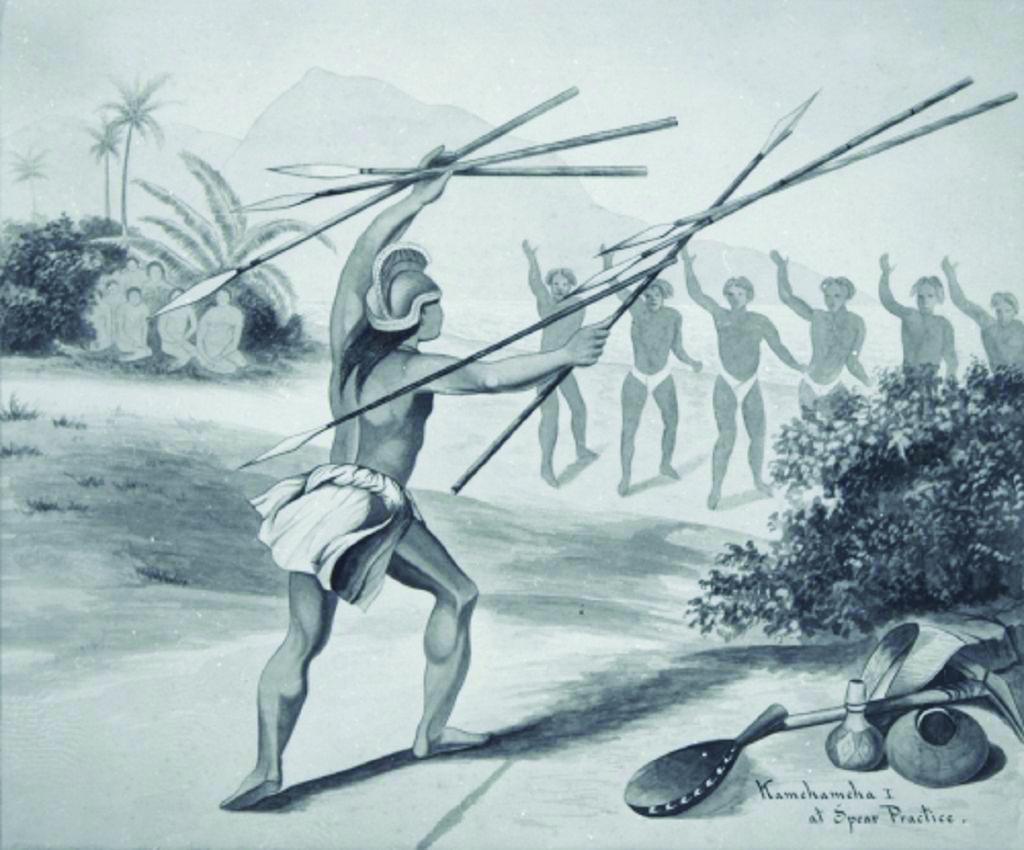 Kamehameha dans sa jeunesse ; il comprit très vite que pour devenir maître de Big Island (Hawaii) puis de tout l'archipel, il avait besoin des armes à feu et des conseils d'Européens.
