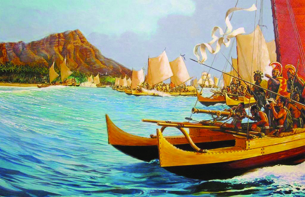 Cette peinture célèbre de Herb Kane montre Kamehameha s'attaquant à Oahu, en débarquant en force à Waikiki. On notera le petit canon à l'avant de la pirogue royale, une arme sans doute prise sur le Fair American du fils Metcalfe.