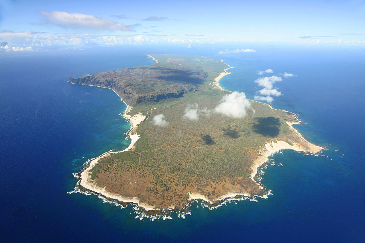 Une vue aérienne de l'île de Ni'ihau ; on voit qu'elle  est couverte d'une maigre végétation. Aucun non résident, aujourd'hui encore, n'est autorisé à s'y rendre et à y séjourner.