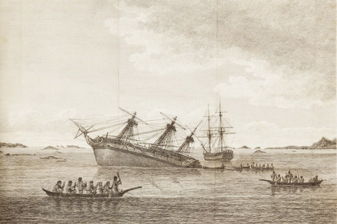 Le Discovery lors de son périple qui l'amena dans les eaux de l'île du sud de la Nouvelle-Zélande, s'est retrouvé sur les rochers à Queen Charlotte's Sound.