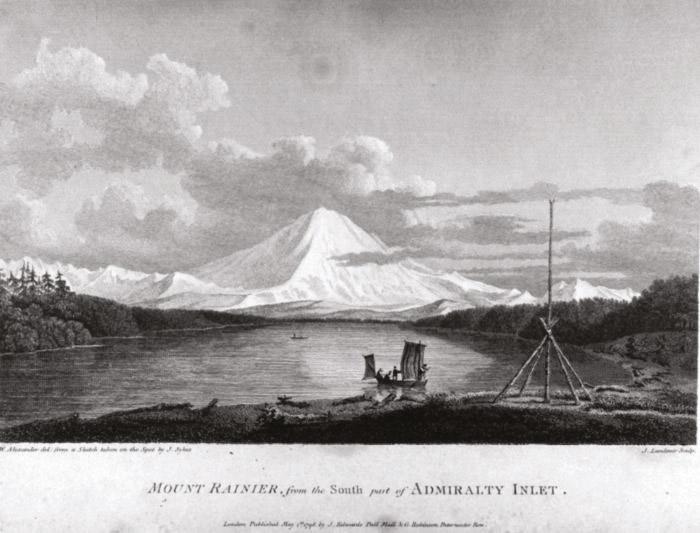 """Dans l'Etat de Washington, Vancouver fit escale devant les neiges du mont Rainier; il avait nommé ainsi ce volcan en hommage à son ami le contre-amiral Peter Rainier. Son nom indien signifiait """"là où naissent les eaux""""."""