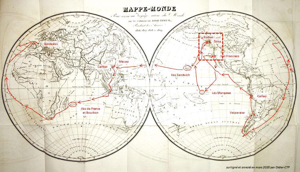 """L'itinéraire suivi par de Roquefeuil à bord du Bordelais. Son escale aux Marquises dura deux mois qu'il mit à profit pour réparer son navire et étudier la vie de ceux que l'on appelait alors des """"Indiens""""."""