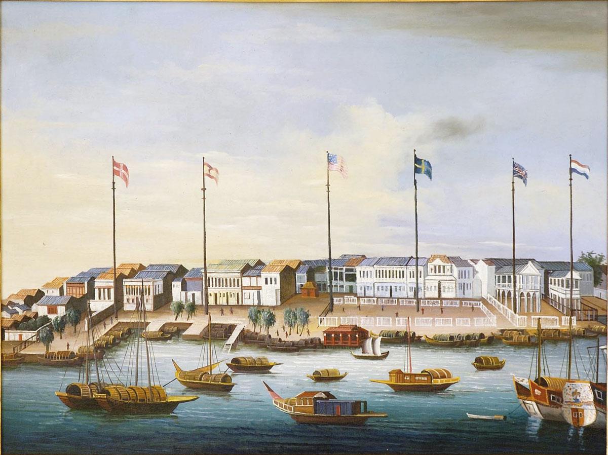 Dessin naïf du port de Canton où de Roquefeuil arriva en fin de saison, alors que le prix du santal avait considérablement baissé compte tenu de l'abondance de ce bois livré par de nombreux bateaux américains.