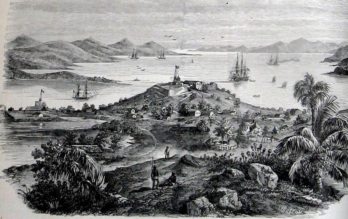 La rade de Port-de-France dessinée à partir d'un croquis ramené par un militaire en poste sur place.