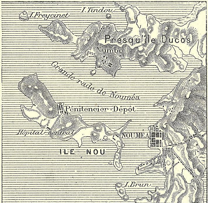 Une des premières cartes de Nouméa élaborée au XIXe siècle. On comprend que la rade était  (et est toujours) particulièrement bien protégée.