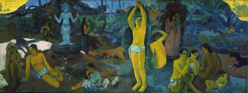 Œuvre de Paul Gauguin intitulée : D'où venons-nous ? Qui sommes-nous ? Où allons-nous ? Elle a été peinte en 1897-1898.