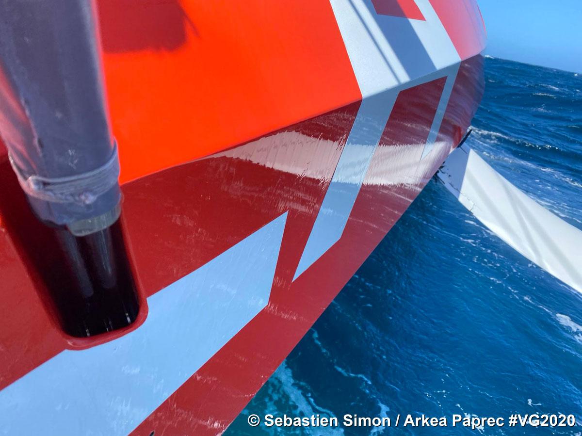 Photo envoyée depuis le bateau Arkea Paprec pendant le Vendee Globe, course autour du monde à la voile, le 2 Décembre 2020. © Sebastien Simon / Arkea Paprec
