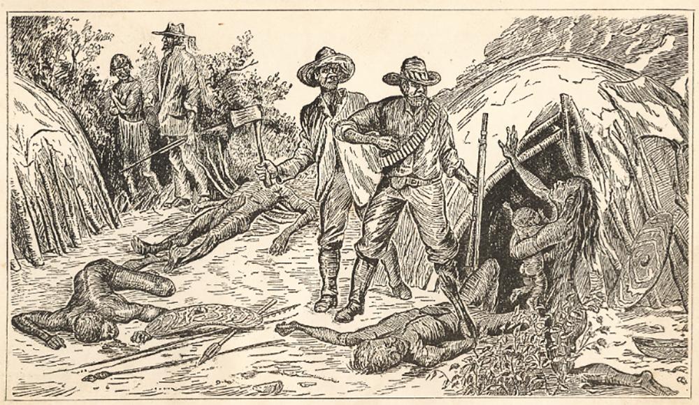 """Cette gravure illustre ce que les colons britanniques appelaient une """"dispersion"""" des Aborigènes. Ceux qui n'étaient pas tués étaient chassés dans l'Outback ou envoyés sur des îlots au large."""