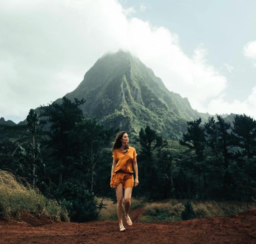 Mareva Galanter à Tahiti en famille