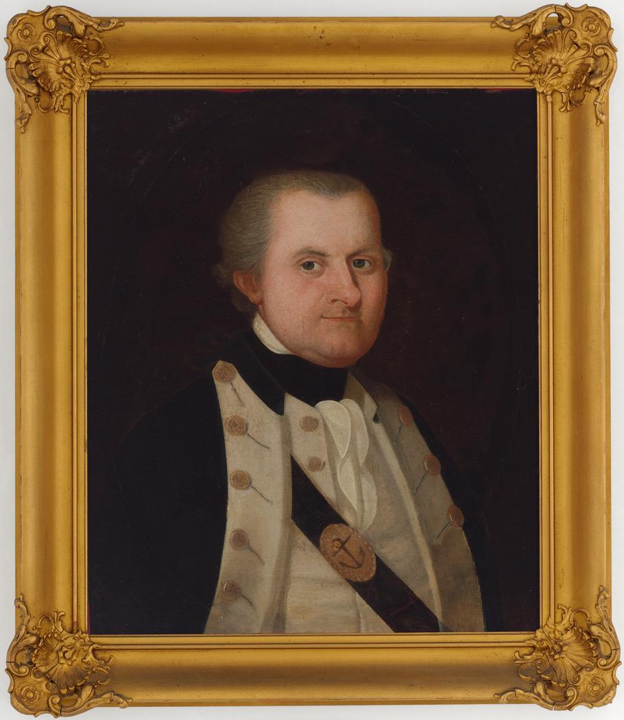 Un portrait de Philip Gidley King, premier colonisateur européen de l'île de Norfolk; il deviendra plus tard gouverneur de la Nouvelle Galles du Sud.