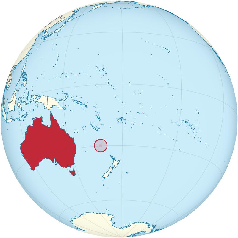 La position de Norfolk entre Nouvelle-Calédonie et Nouvelle-Zélande, devenue possession britannique grâce à King.