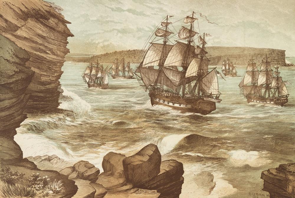 La First Fleet arrivant à Botany Bay en 1788; quelques jours plus tard, King partait coloniser Norfolk à bord de la HMS Sirius.
