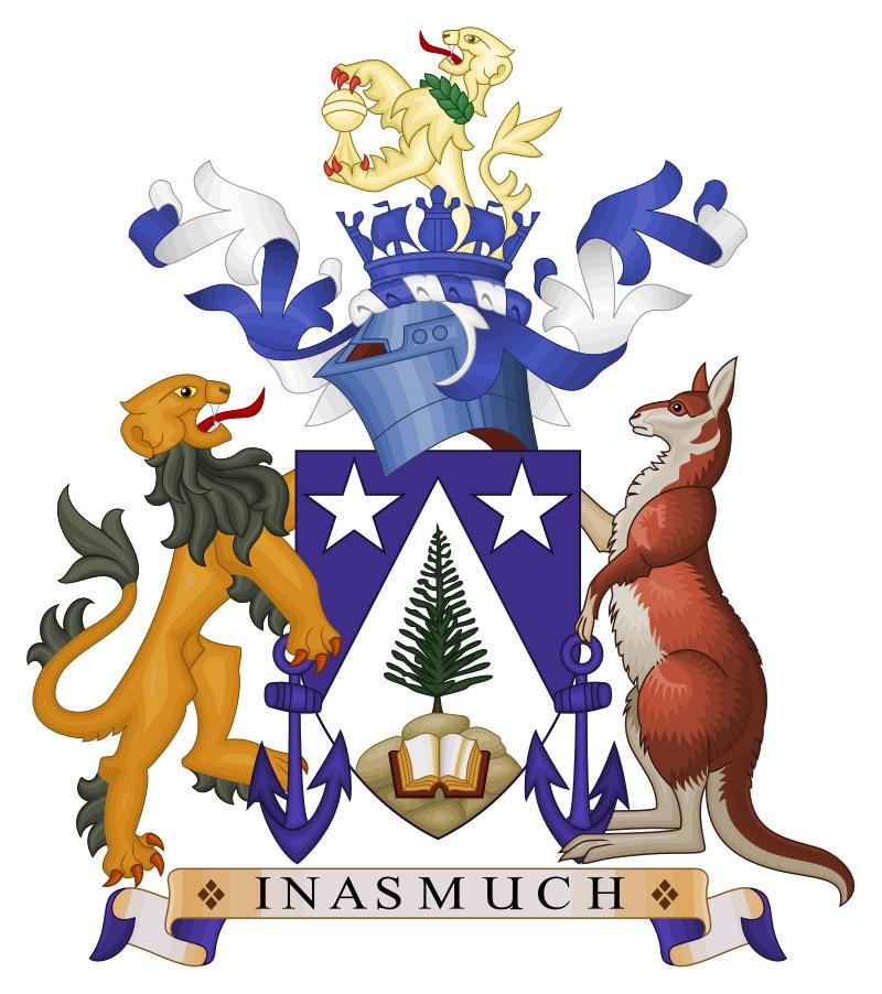 Les armoiries de Norfolk où l'on retrouve le lion britannique et le kangourou australien (même s'il n'y a pas de kangourous sur cette île).