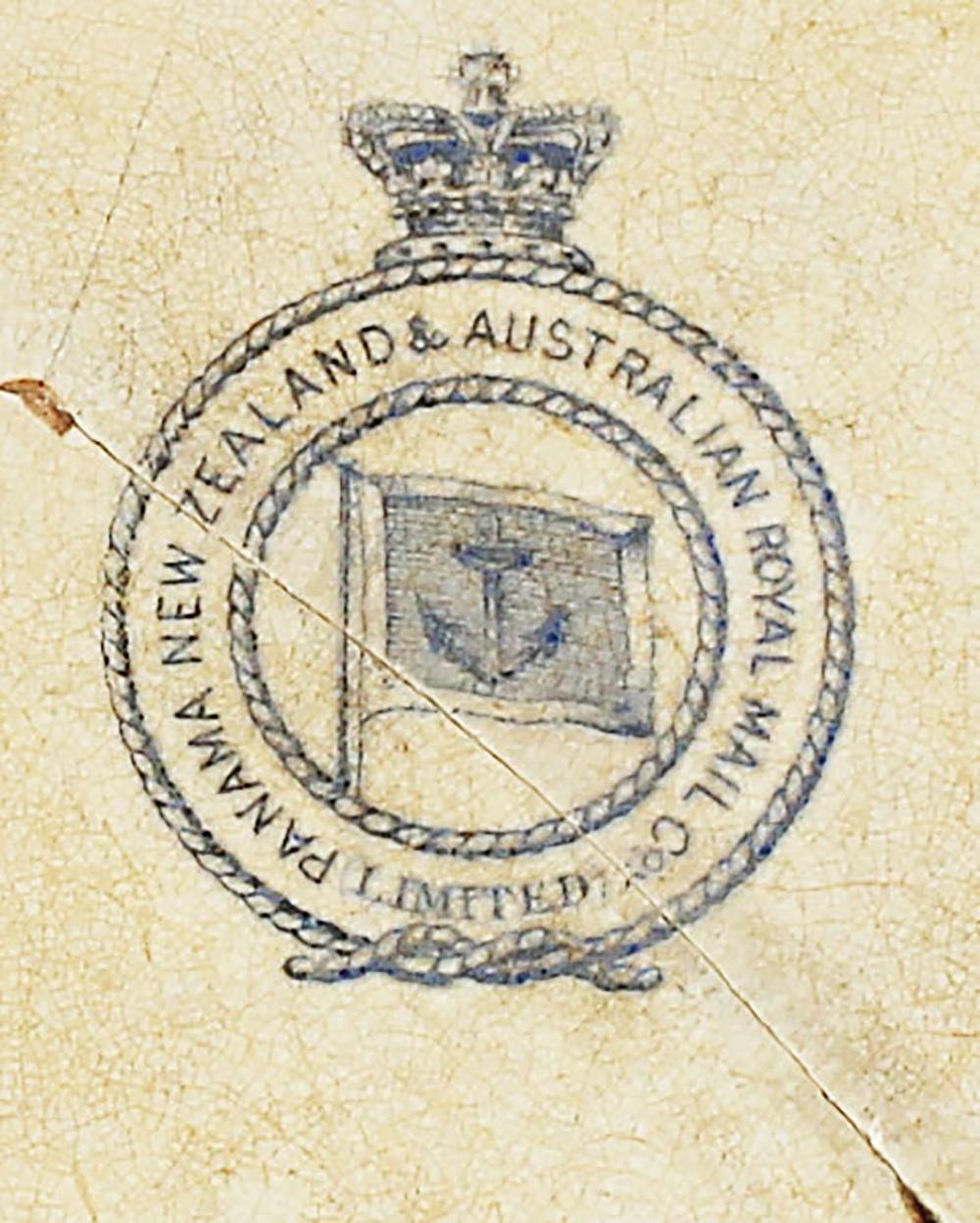 "Le tampon de la ""Panama, New Zealand & Australia Royal Mail Co."""