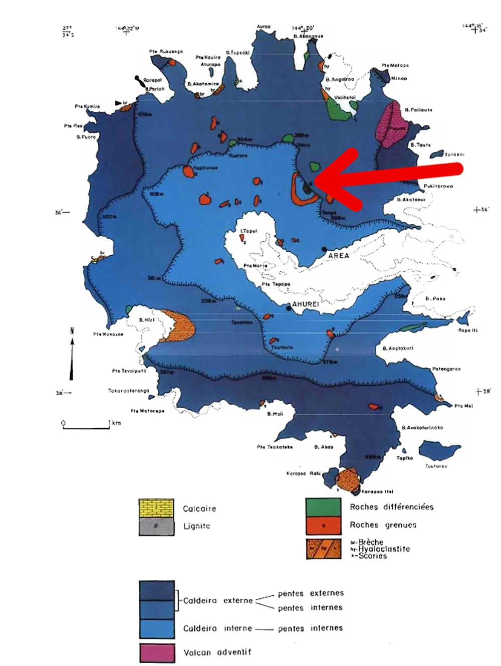 Sur cette carte géologique de Rapa, on aperçoit le site où se trouve le petit gisement de lignite (flèche).