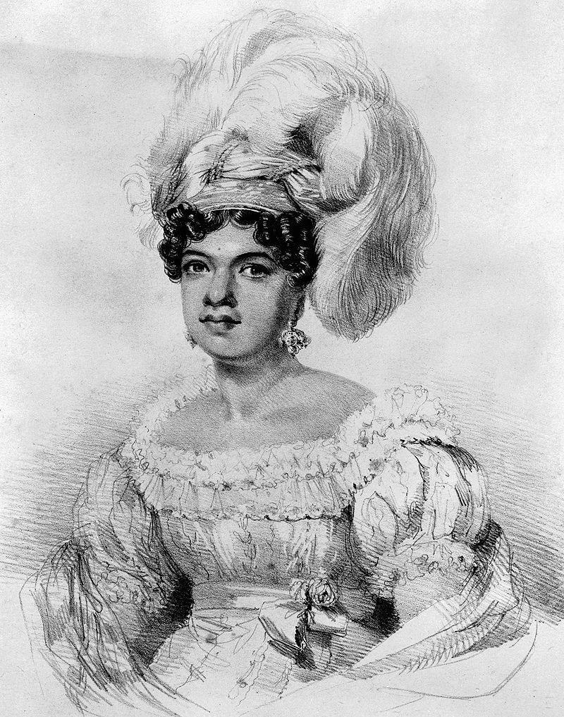 La reine Kamamalu qui accompagne le roi hawaiien lors de son long voyage à Londres. Elle a été dessinée juste quelques jours avant son décès. Elle mourut elle aussi de la rougeole le 8 juillet 1824.