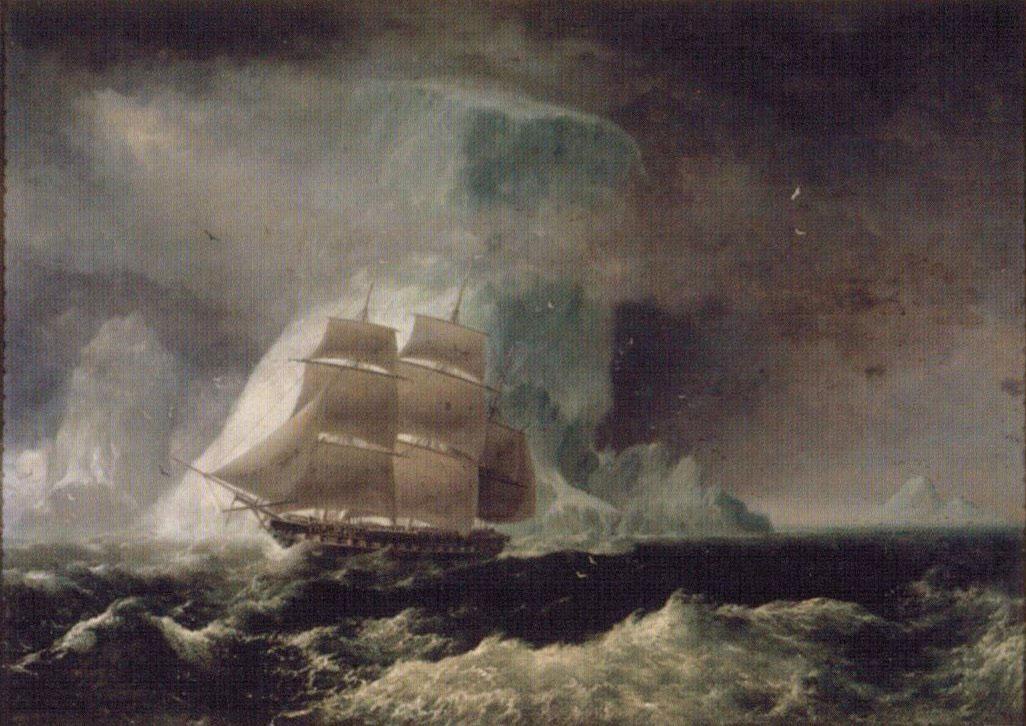 C'est sur la HMS Blonde que les dépouilles royales furent ramenées d'Angleterre à Hawaii après le décès du couple de souverains à Londres (peinture de Robert Dampier, 1825).