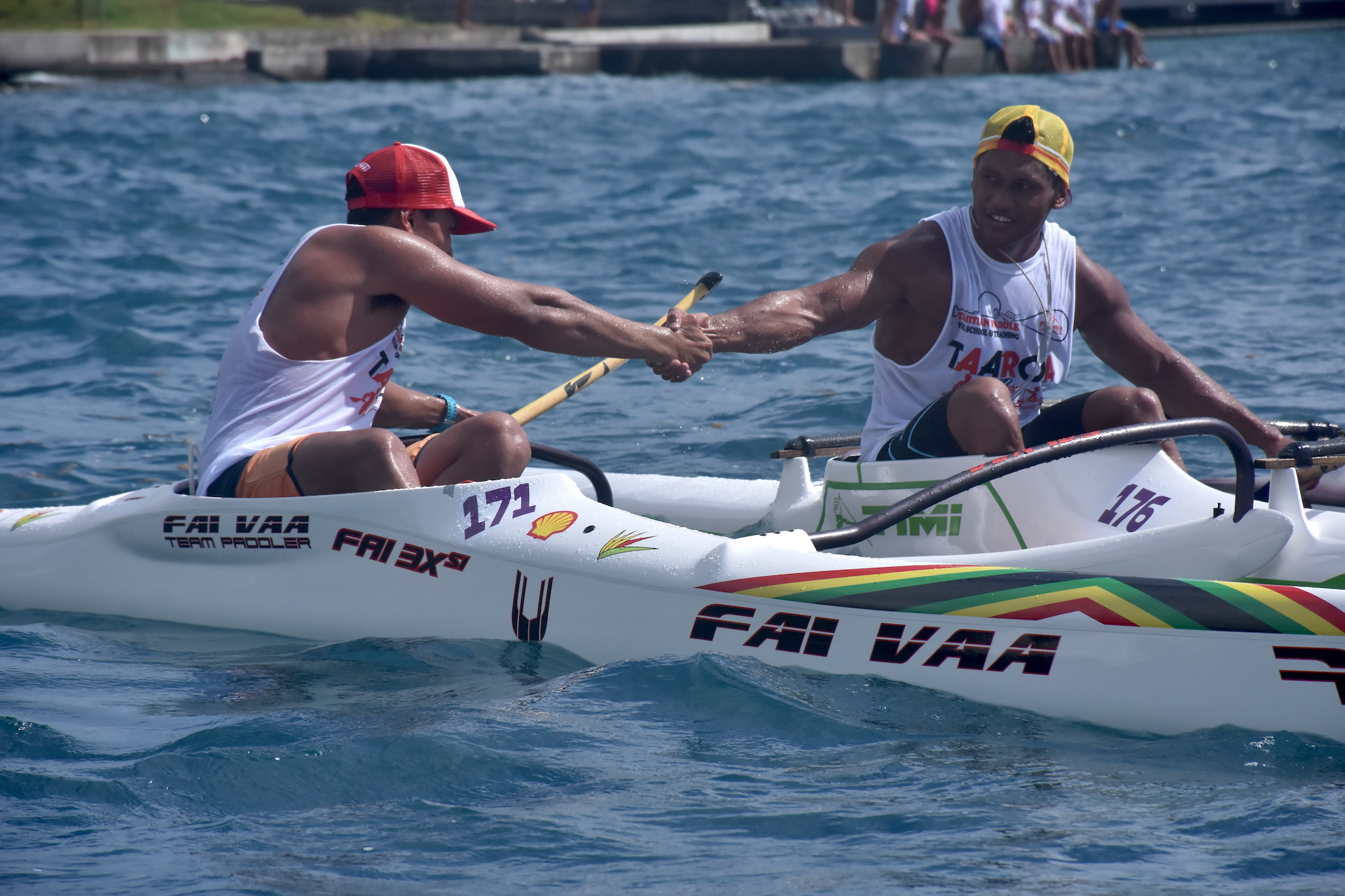 Narai Atger et son partenaire de club Brice Punuataahitua après un peu moins deux heures d'efforts.