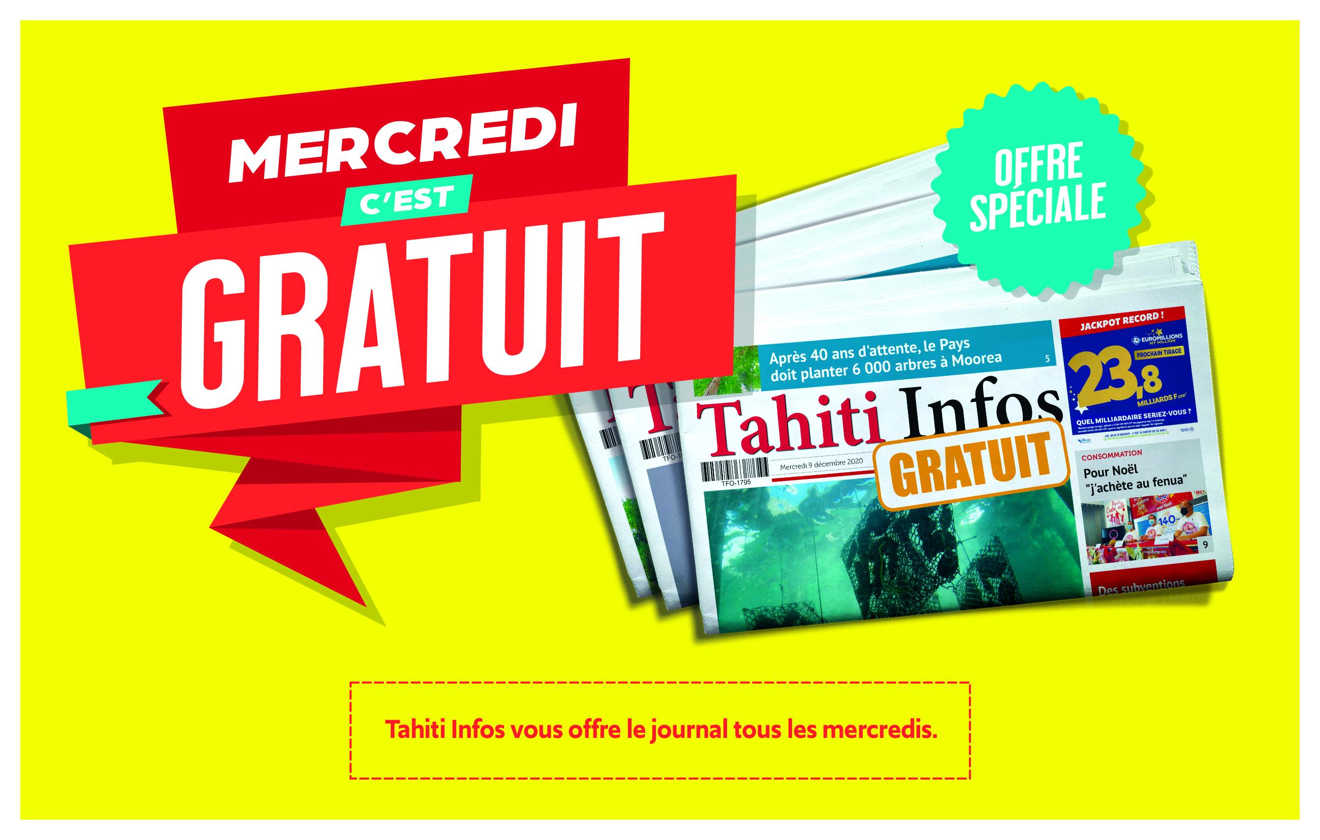 Tahiti Infos gratuit chaque mercredi