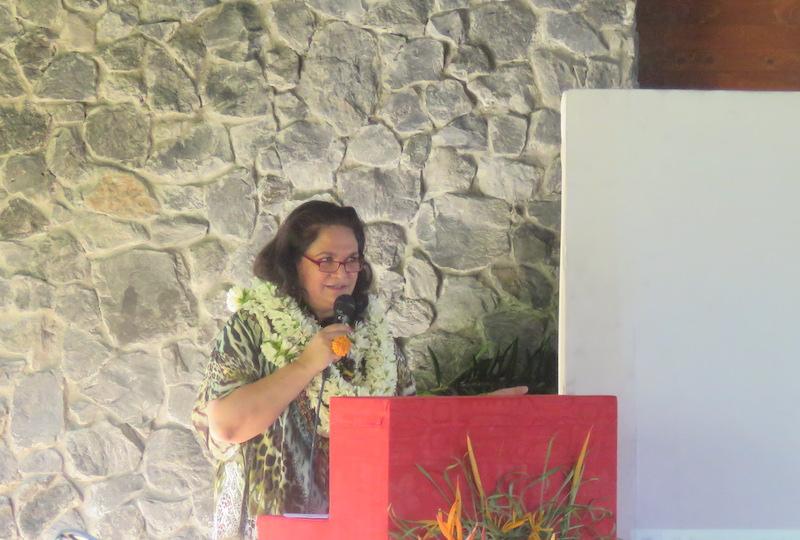 Nicole Bouteau, ministre du Tourisme a fait un point sur la situation actuelle du tourisme en Polynésie, auprès des professionnels de Moorea.