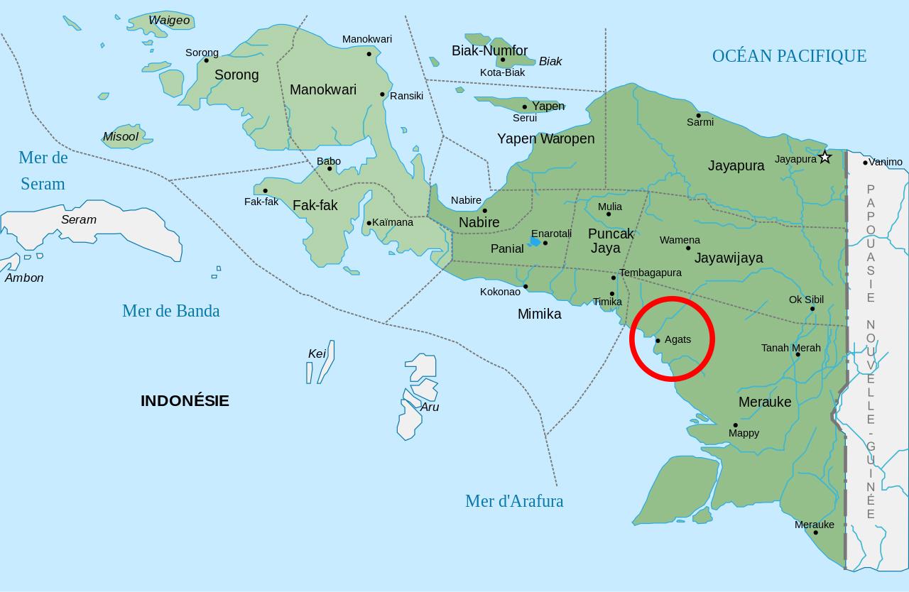 Une carte de l'Irian Jaya, partie indonésienne de la vaste Nouvelle-Guinée. Sur la côte sud, la petite ville d'Agats est le centre de la communauté Asmat.