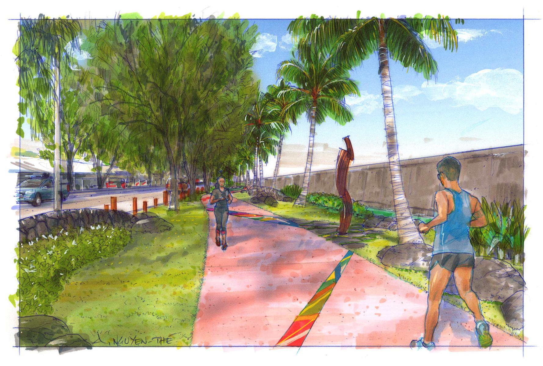 Une promenade piétonne à Motu Uta