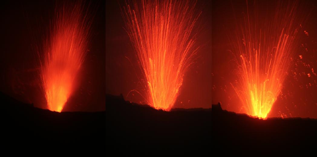 A la nuit tombée, la cheminée centrale du volcan laisse toute sa colère se manifester. Un impératif, surveiller où tombent les bombes volcaniques incandescentes.